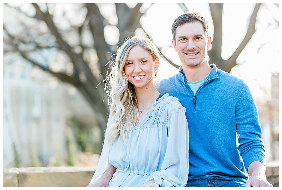 Portrait of a couple smiling.