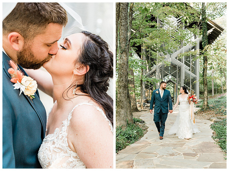 Thorncrown Chapel Eureka Springs and newlywed couple kissing