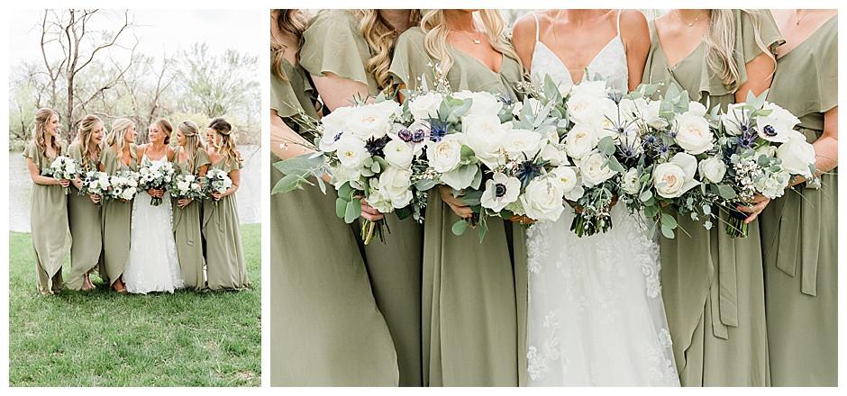 Bride with bridesmaids.