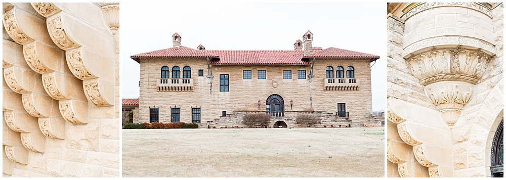 Exterior details of the E W Marland Mansion in Ponca City, Oklahoma.