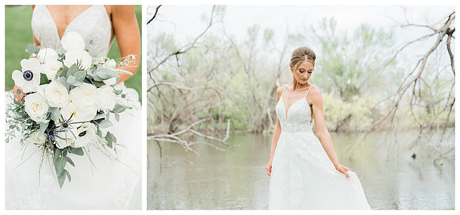Bridal bouquet and bride swishing gown.