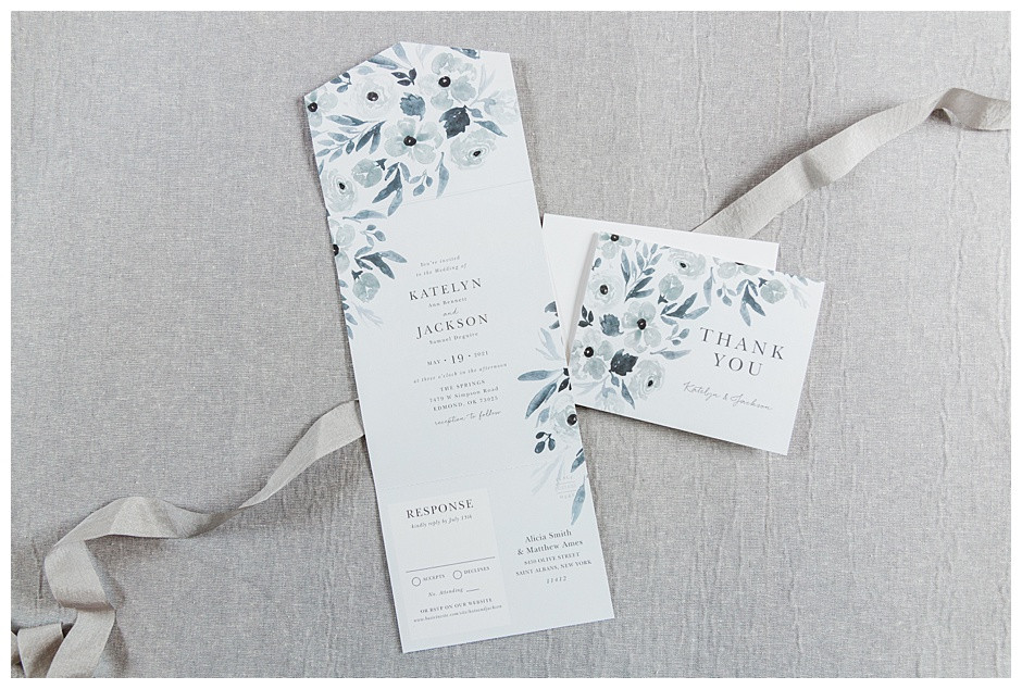 Basic Invite Blue Floral Wedding Invitation and Thank You