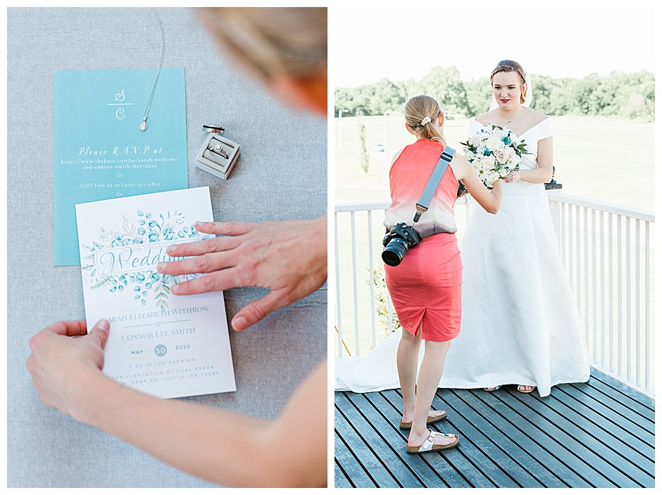 Bride holding flower bouquet on deck at Cole Creek Winery and a photo of wedding stationary.