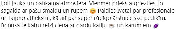 facebook testimonial, Elīna Jākobsone