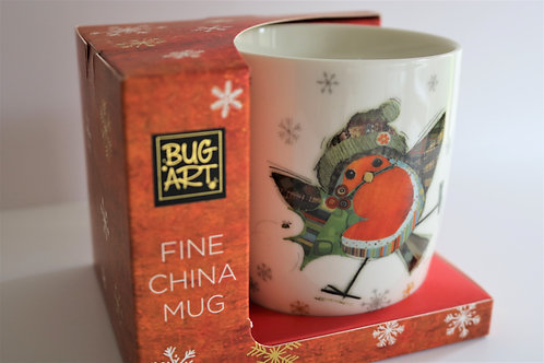 Robin Bug Art Fine China Mug - Gift Boxed