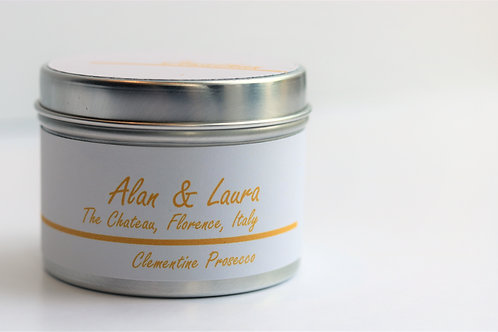 Clementine Prosecco Candle Taster Tin - Personalised