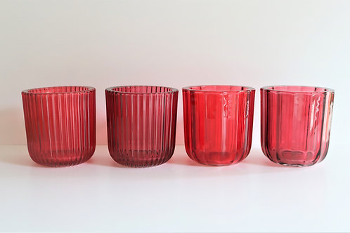 Vibrant Red & Fuchsia Pink Glass Tealight Holders
