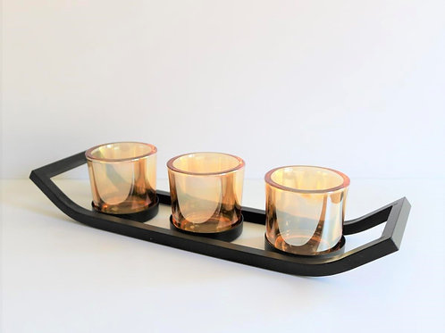 Black & Amber Triple Tealight Holder
