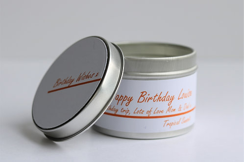 Tropical Sunset Candle Taster Tin - Personalised