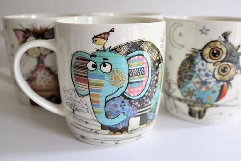 Eric Elephant Bug Art Fine China Mug - Gift Boxed