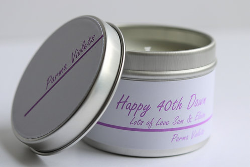 Parma Violets Candle Taster Tin - Personalised