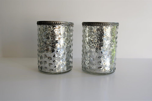 2 Mottled Silver Ridged Tealight Holders