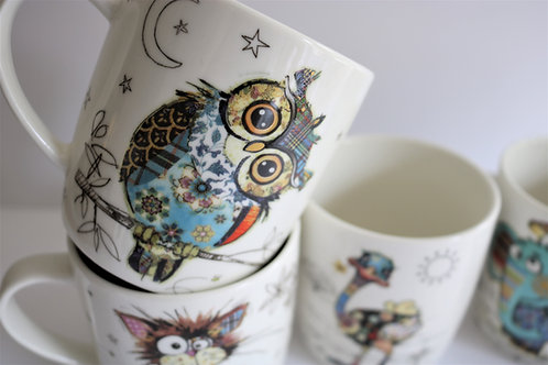 Owen Owl Bug Art Fine China Mug - Gift Boxed
