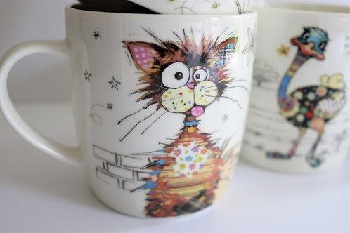 Ziggy Cat Bug Art Fine China Mug - Gift Boxed