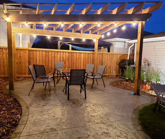 Pergola in patio at night