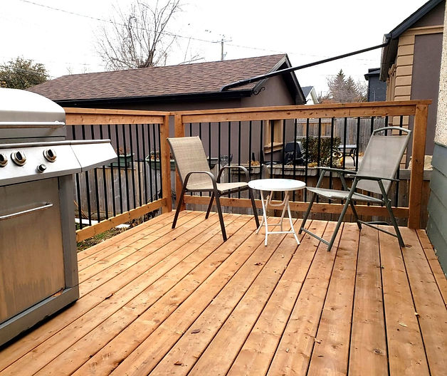 Wooden deck and railing