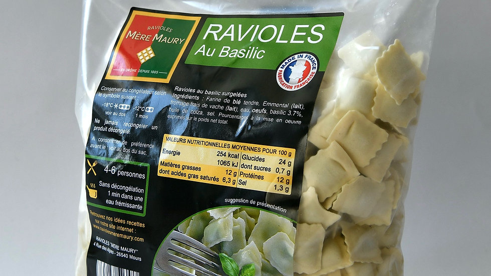 Ravioles au Basilic - surgelées - 600g