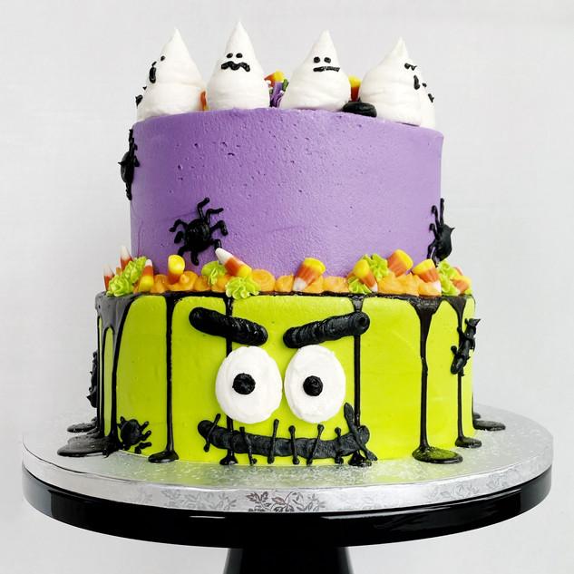 Custom Halloween themed birthday cake