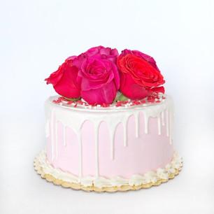 Custom Valentines Day cake with fresh roses