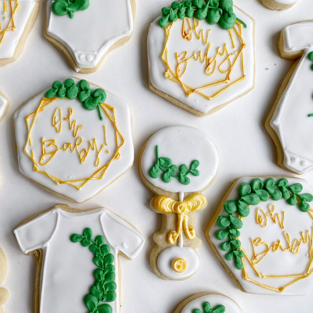Custom iced cookies for a baby shower