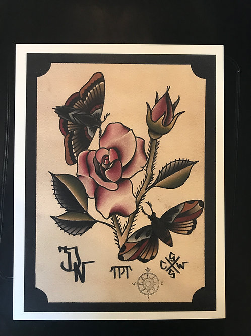 Rose and butterflies, 9 1/2 x12 1/2 inches, Printed on watercolor paper.