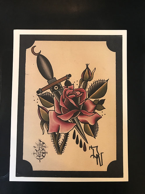 9 1/2 x12 1/2 Dagger and rose printed on watercolor paper.