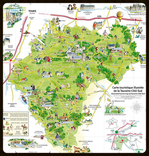 carte touristique touraine cote sud