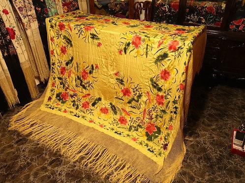 Maravilloso mantón antiguo imperio de cuarterones