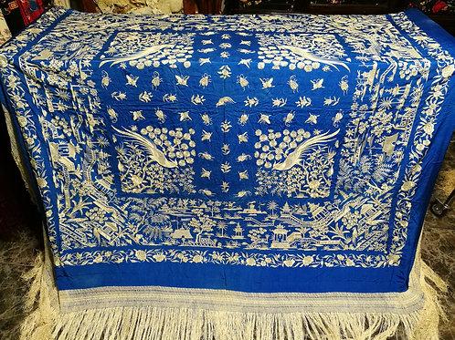 Espectacular mantón antiguo imperio de cuarterones