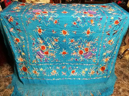 Maravilloso mantón antiguo de cestos