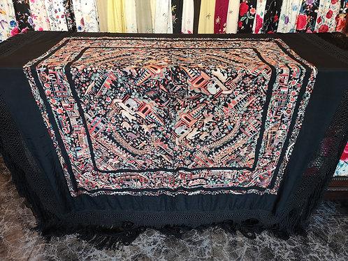 Maravilloso mantón antiguo cantonés