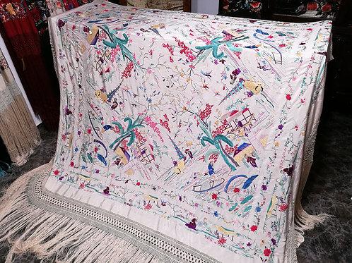 Maravilloso mantón antiguo chinesco
