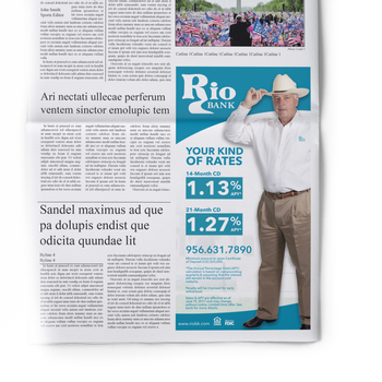 CD Rates Newspaper Ad for Rio Bank