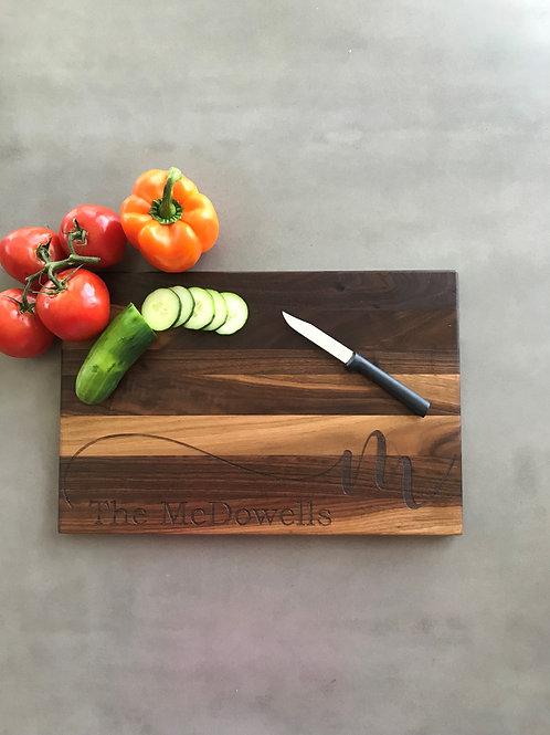 Family Script cutting board
