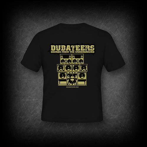 Dubateers Black T-Shirt Gold Sound System Edition