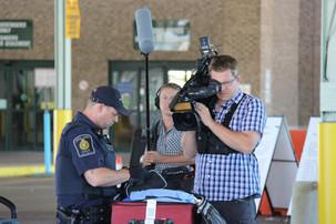 Video shoot at the Canadian border
