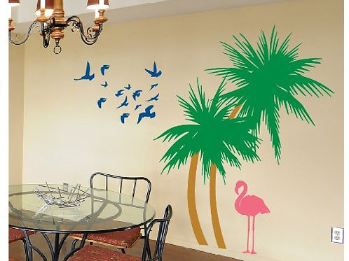 Palm Trees with Flamingo and Birds in Colors