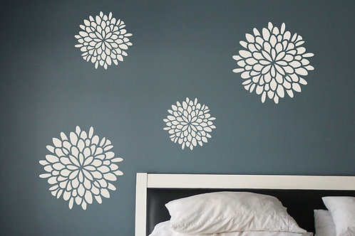 Flower Wall Decals - Set of 4 Decals - Dahlia Flower Vinyl - Home Decor