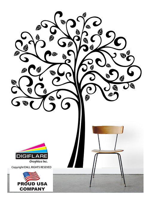 Large 6FT Curly Tree Wall Decal