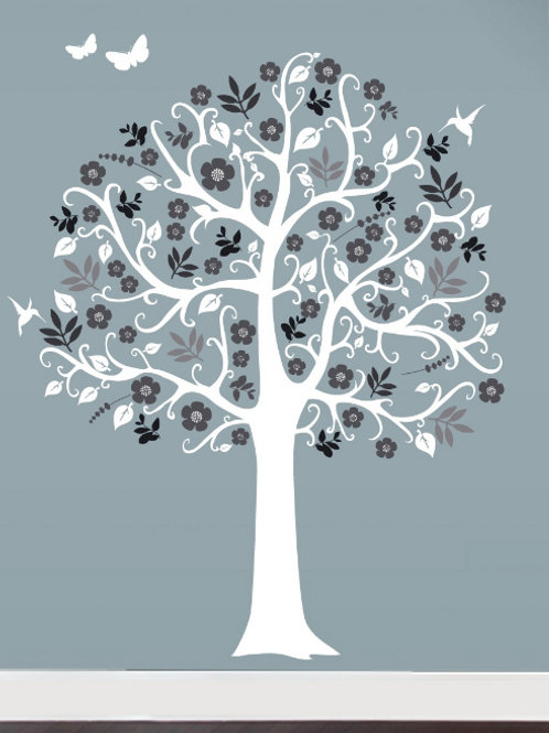 Country Chic Tree White & Gray Wall Decor Decal