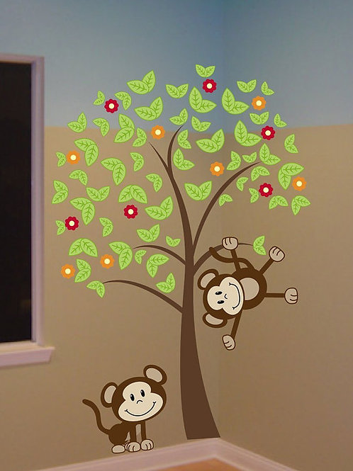 6ft Tree with Monkeys Wall Decal Art Sticker Kids