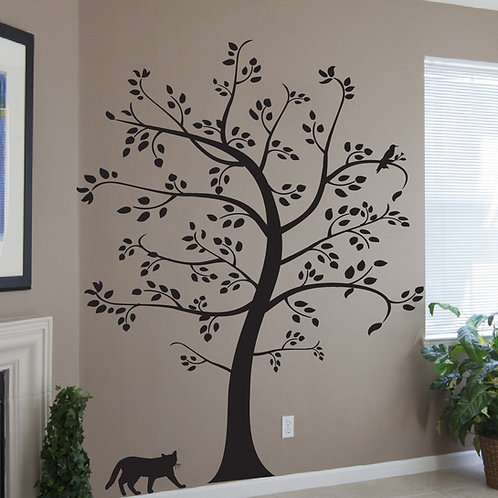 7.5 Ft. Big Tree with Cat and Bird Wall Decal