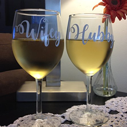 SET OF 2 GLASSES | Hubby and Wifey Wine Glasses | Personalized 15oz Wine Glasses