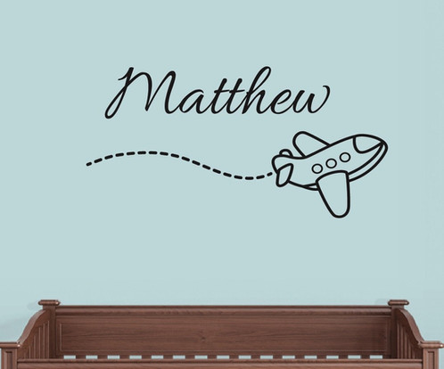Personalized Airplane Wall Decal Nursery Decor