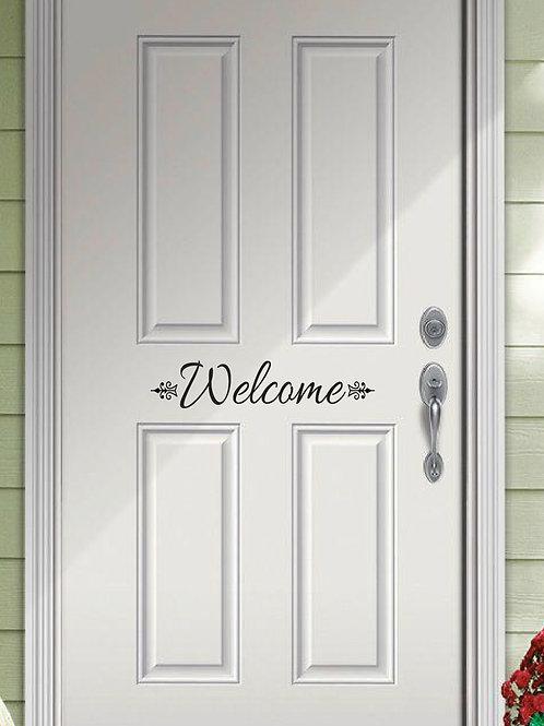 Welcome Decal - Decorative Front Door Vinyl Decal