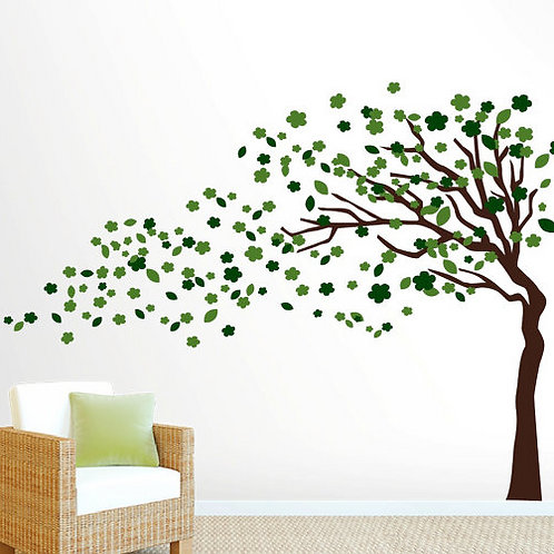 Wind Blowing 6ft Tree Wall Decal