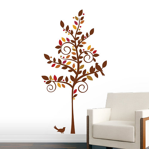 Curly Tree Wall Decal Autumn Fall Tree with Birds