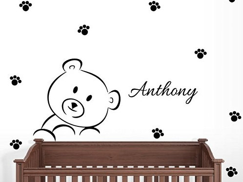 Personalized Teddy Bear Wall Decal Nursery Decor