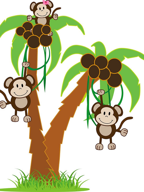 Palm Tree with Monkeys Wall Decal