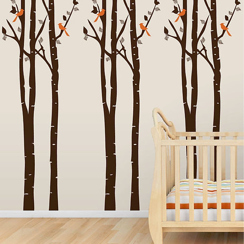 "26""x96"" Self Adhesive Wallpaper, Trees and Birds"